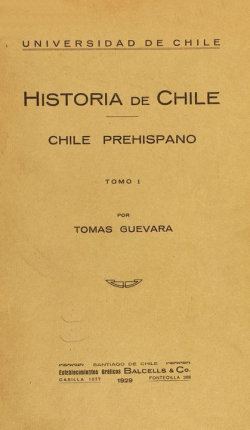 Cover of Historia de Chile : Chile prehispano Tomo I